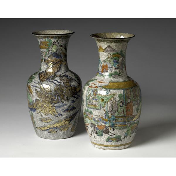 Chinese Famille Verte Ironstone Vases