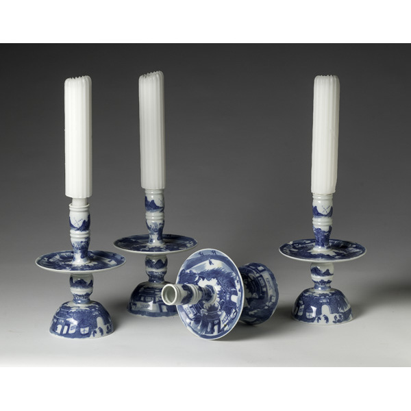 Mottahedeh Portuguese Blue and White Candlesticks