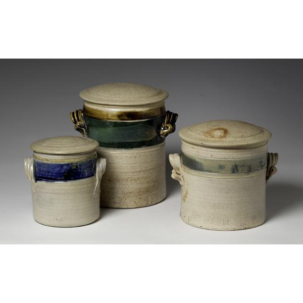3 20th Century Stoneware Covered Jars