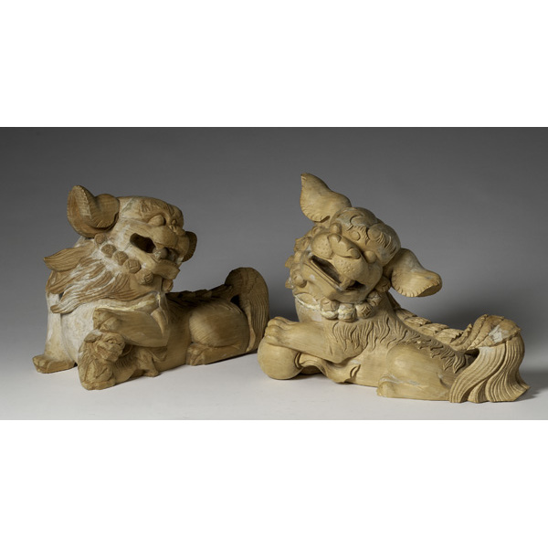 Chinese Wood Guardian Foo Dogs