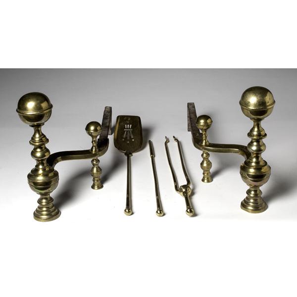 Pair of Brass Andirons, Plus