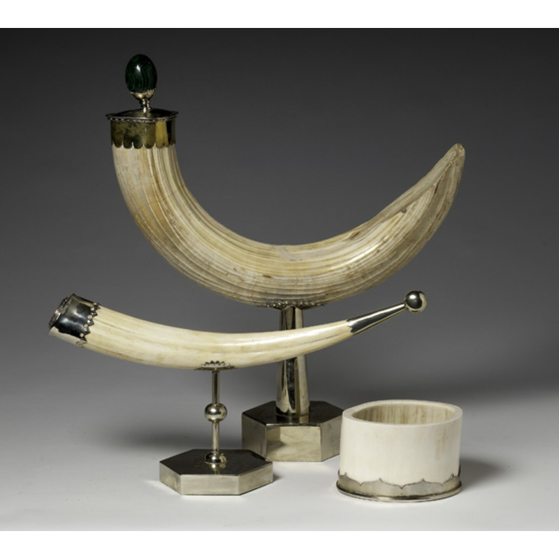 Ivory Tusk and Brass Decorative Displays