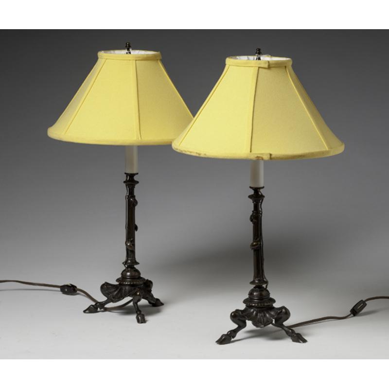 Cast Bronze Candlestick Lamps