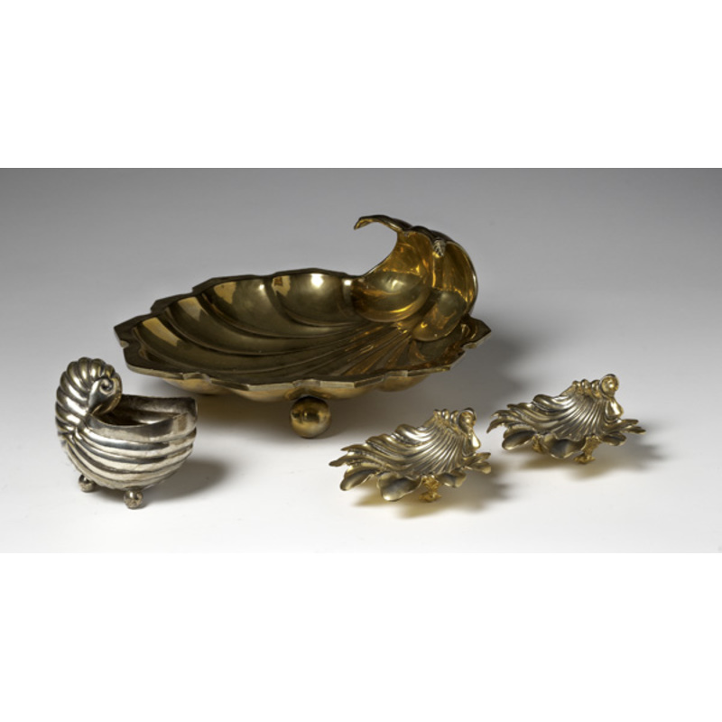 Brass and Silver-Plated Shell Form Trays
