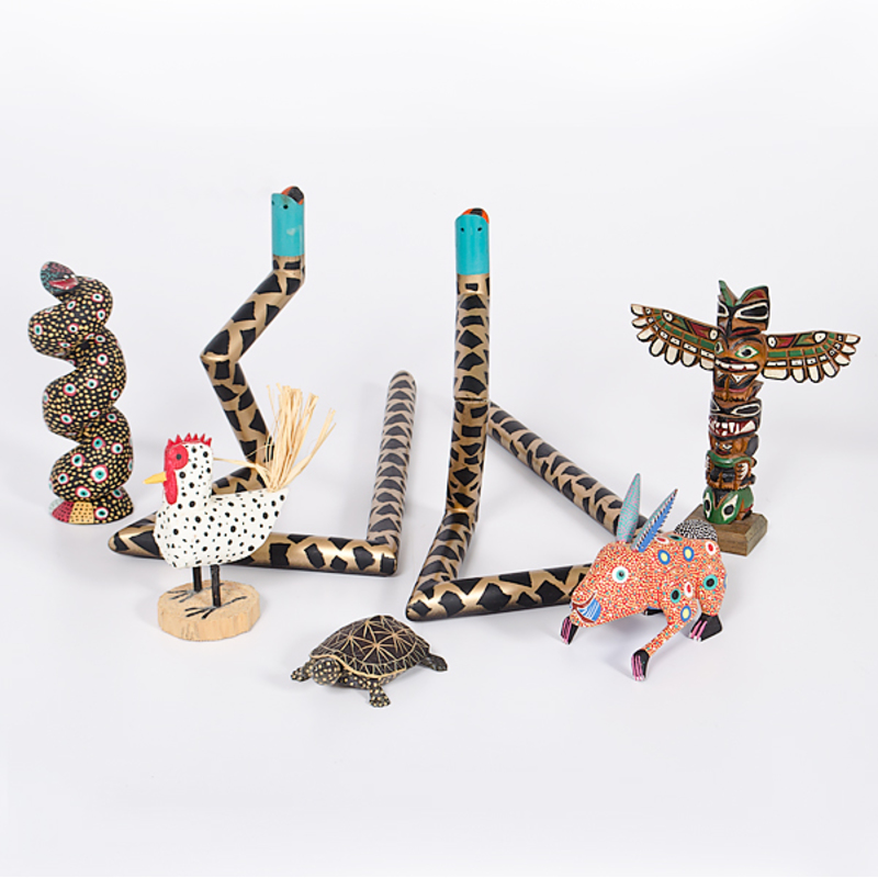Folk Art Snake Candlesticks, PLUS