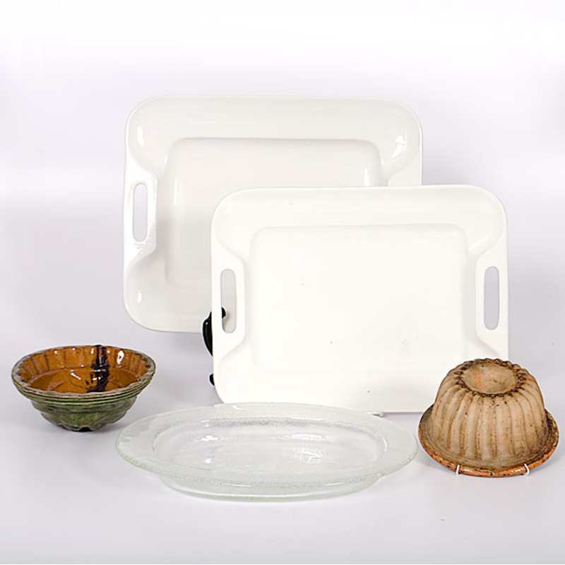 Williams Sonoma Serving Trays and Earthenware Pudding Molds, Plus