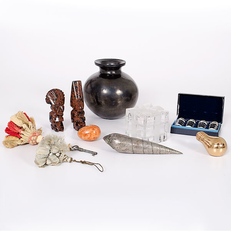 Mexican Blackware Jar and Stone Carvings, Plus