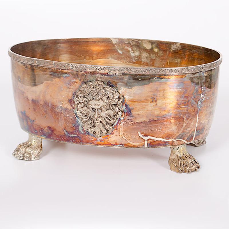 Silverplate Foot Bath with Paw Feet