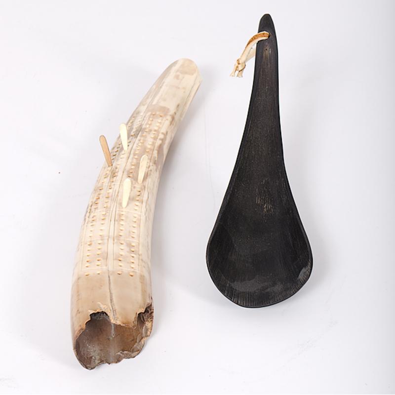 Northwest Coast Spoon and Eskimo Cribbage Board