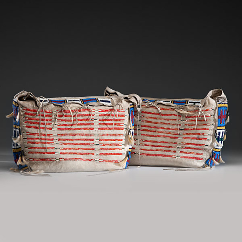 Sioux Beaded and Quilled Matched Buffalo Hide Possible Bags From the Collection of Forrest Fenn