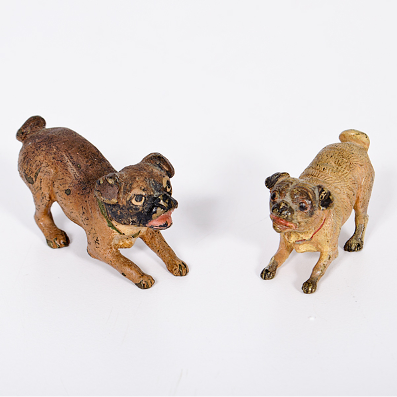 Cold-Painted Bronze Pugs