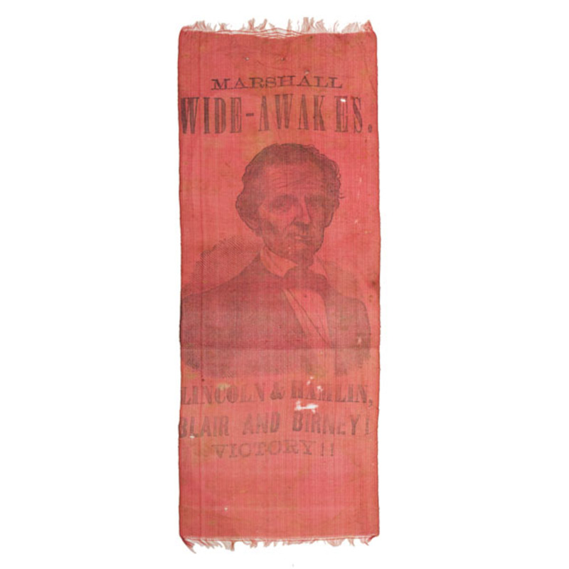 Abraham Lincoln, Wide Awakes 1860 Campaign Ribbon Featuring Portrait of a Beardless Lincoln