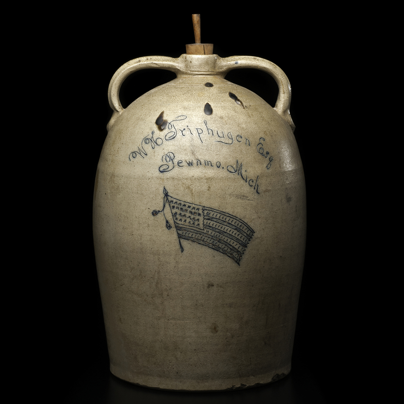 Monumental WH Triphugen (Triphagen) Pewamo, Michigan Double-Handled Stoneware Merchant's Jug