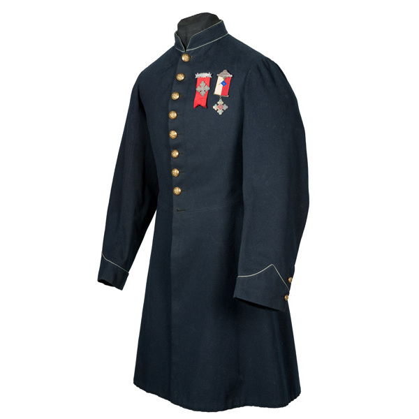 Nine Button Civil War Infantry Enlisted Frock Coat Identifed to Pvt. Thos. Kinsley, 45th Mass.