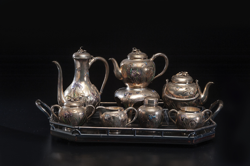 A Superb Japanese Sterling and Enamel Tea Set, Samurai Shokai