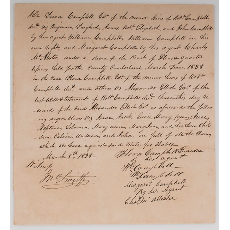 Two Slave Receipts, 1838 and 1864, North Carolina and