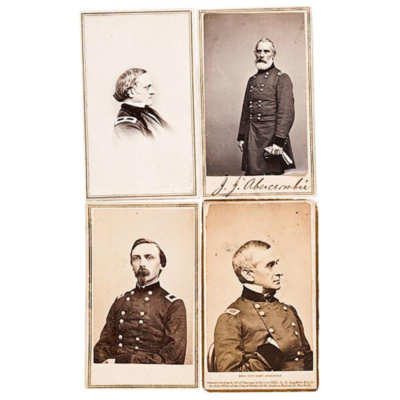 Four CDVs: John J. Abercrombie, Benj. Alvord, Adelbert Ames, Robert Anderson
