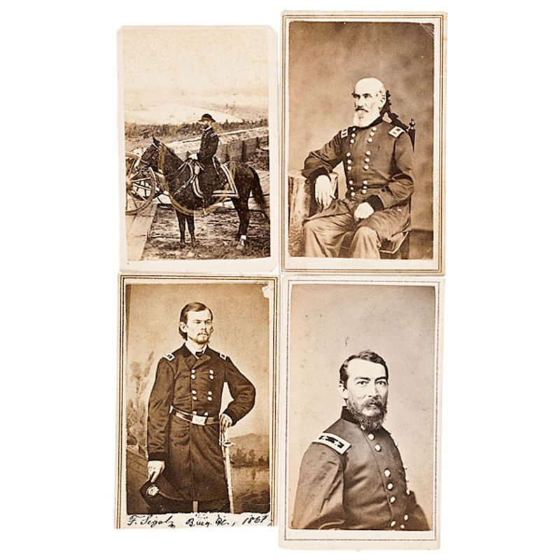 Four CDVs: Sheridan, Outdoor Mounted Sherman, Signed Franz Sigel, Andrew J...