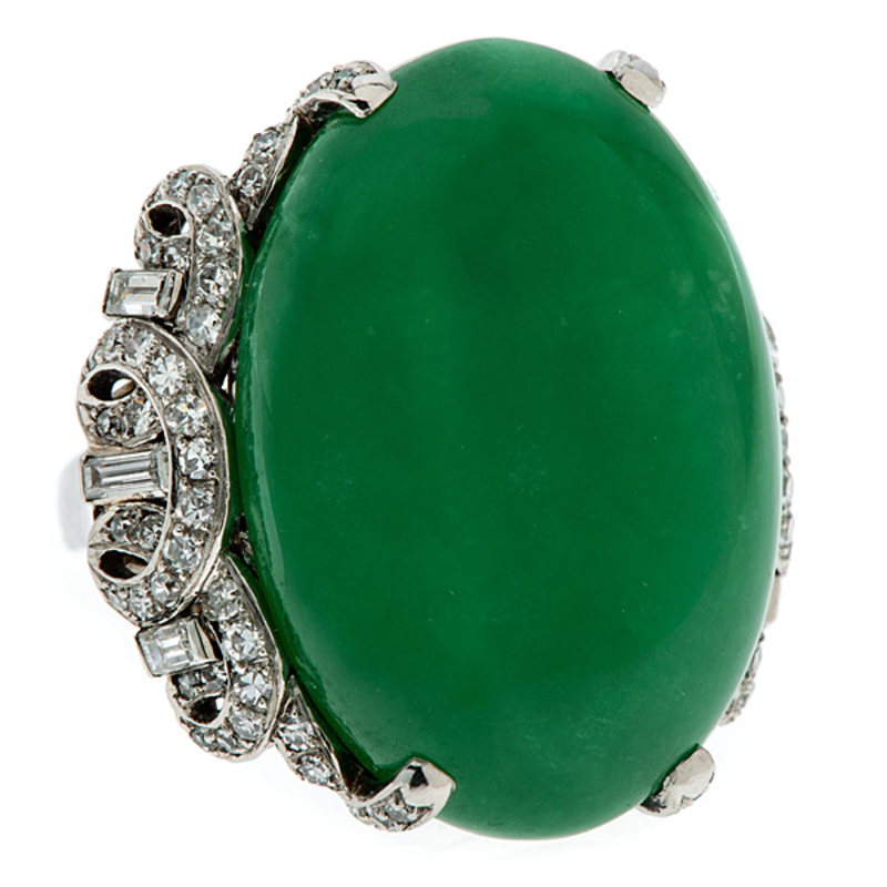 Natural Green 'A' Jade Ring in Platinum with Diamonds