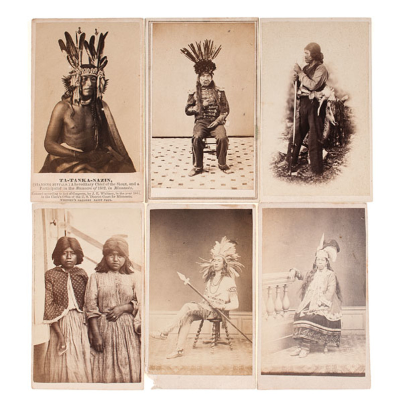 Rare Album Containing Early CDVs of American Indians, Including Early...