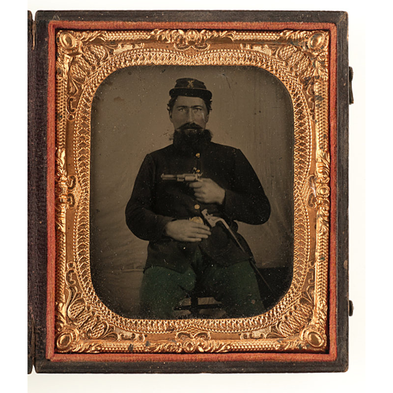 civil war sixth plate tintype of an armed soldier. Black Bedroom Furniture Sets. Home Design Ideas