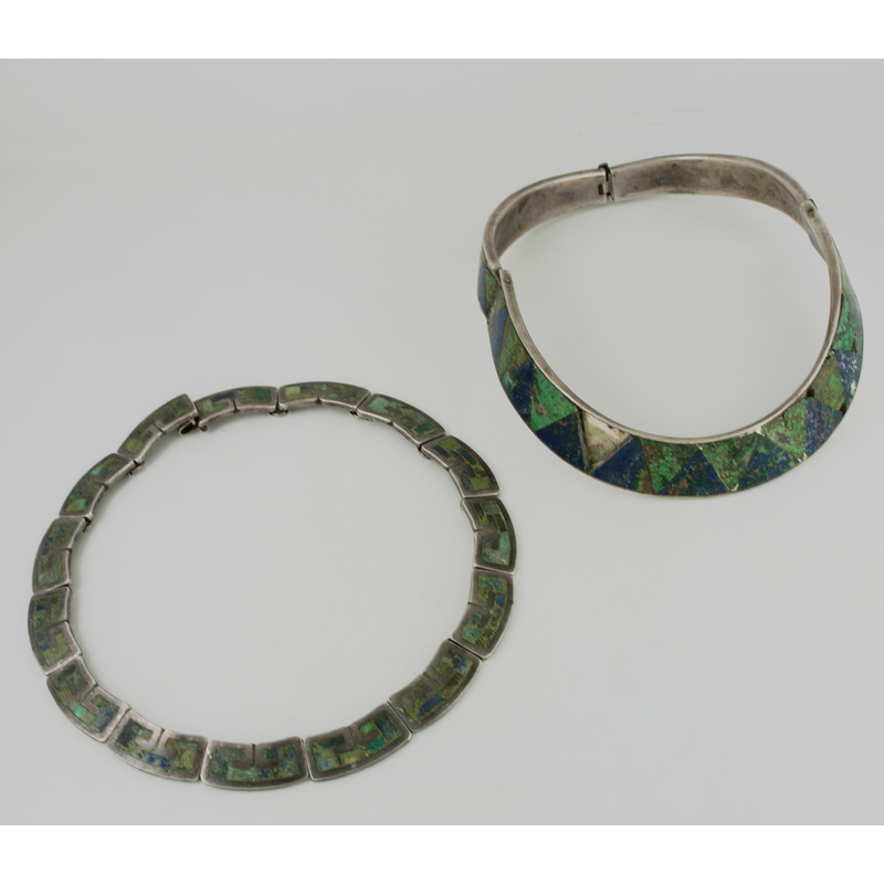 Los Castillo (Mexican, founded 1939) Silver, Turquoise, and Azurite Necklaces
