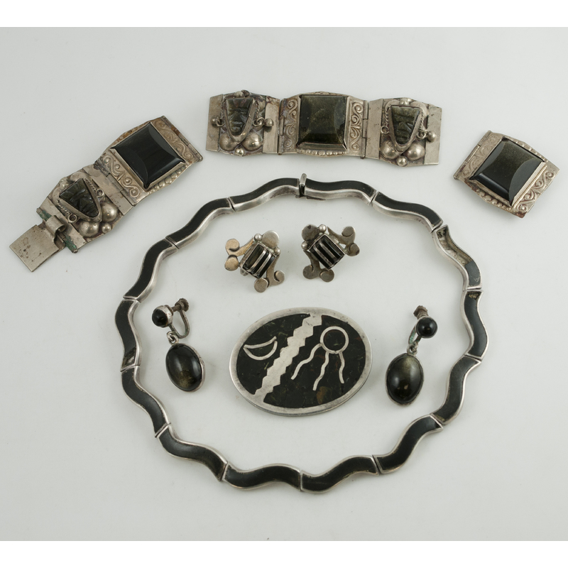 Los Castillo (Mexican, founded 1939) Onyx Necklace and Other Mexican Silver...