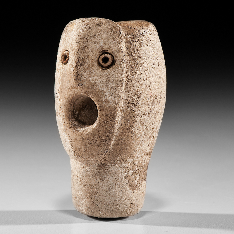 Limestone Human Head Effigy Pipe, From the Collection Jan Sorgenfrei, Ohio