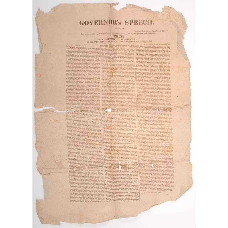 War of 1812 Governor's Speech New Hampshire Broadside, 1816, Property of N. Flayderman & Co.