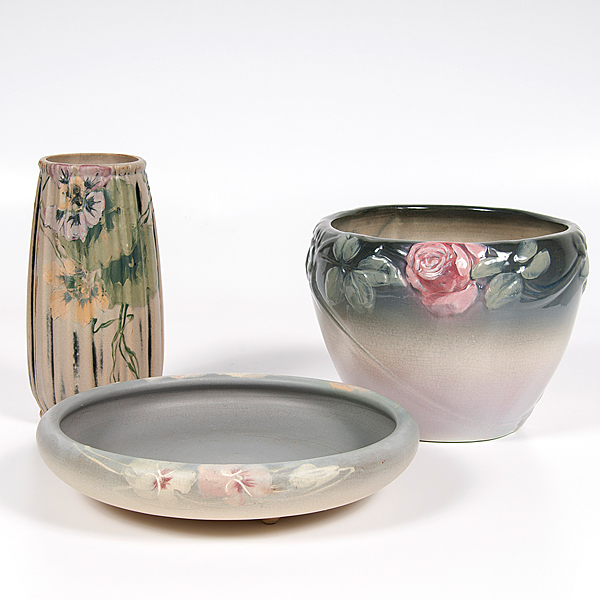 Weller Pottery Vase, Jardiniere, and Bowl