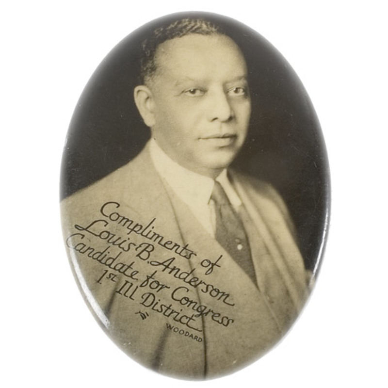 Political Pocket Mirror of Black Illinois Congressman Dated 1922,