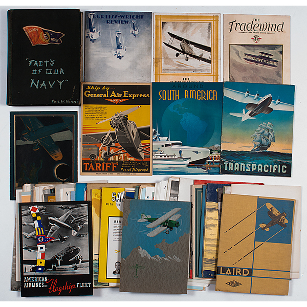 Collection of Early 20th Century Aviation Travel Brochures, Pamphlets and Advertisements with Specifications, Company Magazines, Photos and More, Incl. Boeing and Douglas Aircraft Co.