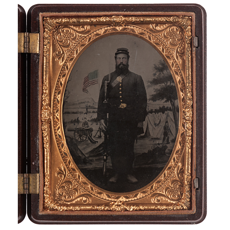 Quarter Plate Tintype of Pvt. John Streeter, Co. I, 4th Vermont Infantry, Fought at Battle of Gettysburg and KIA at Battle of the Wilderness