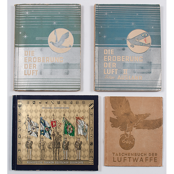 World War II-Era German Cigarette Card Albums Focusing on Aviation, Plus Early Military Flags