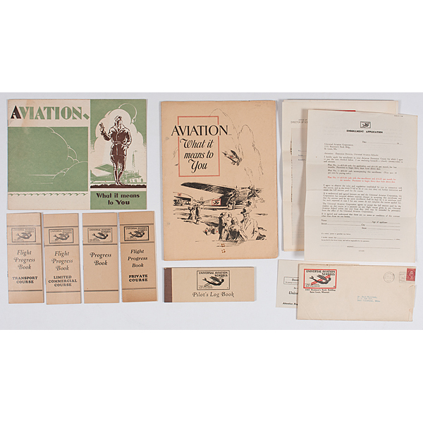 Early Aviation Advertising Brochures for U.S. Flying Schools Incl. Photographs, Correspondence, Courses, Applications, Pilot's Log Book, Plus