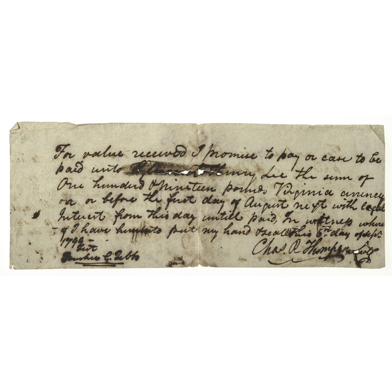 [Americana - Manuscript - Virginia] Promissory Note to Pay