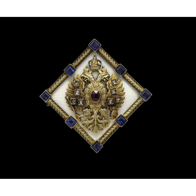 Faberge Romanov Imperial Eagle Brooch with Ruby, Sapphires and Diamonds, Ca 1905