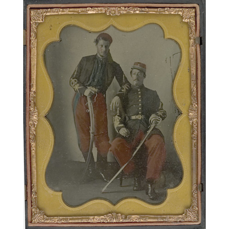 Tinted Half Plate Ambrotype of Coppens' Louisiana Zouave Officers,