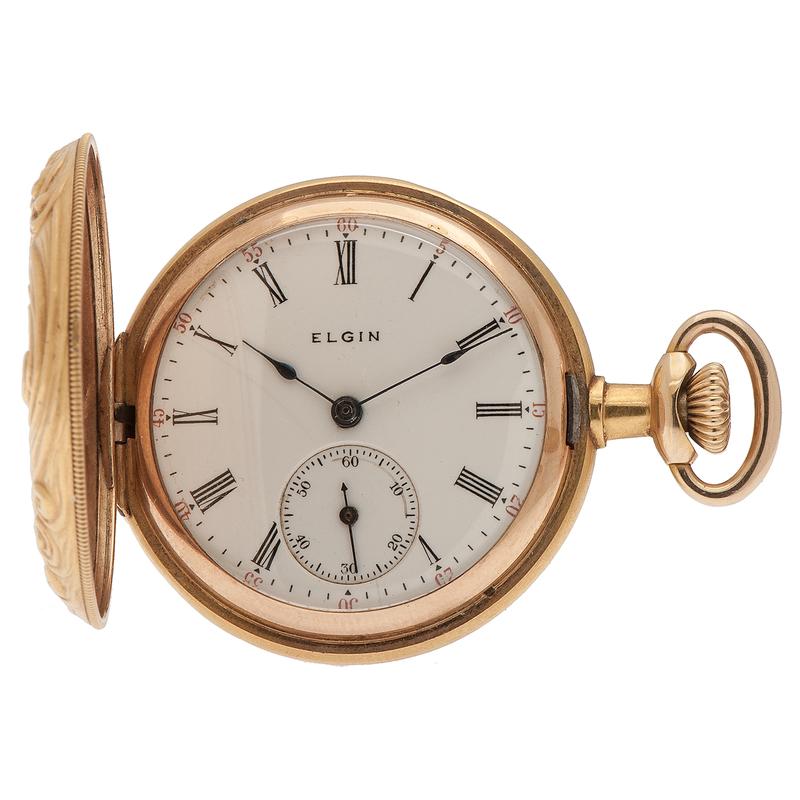 Elgin Art Deco Hunter Case Pocket Watch in 14 Karat Yellow Gold