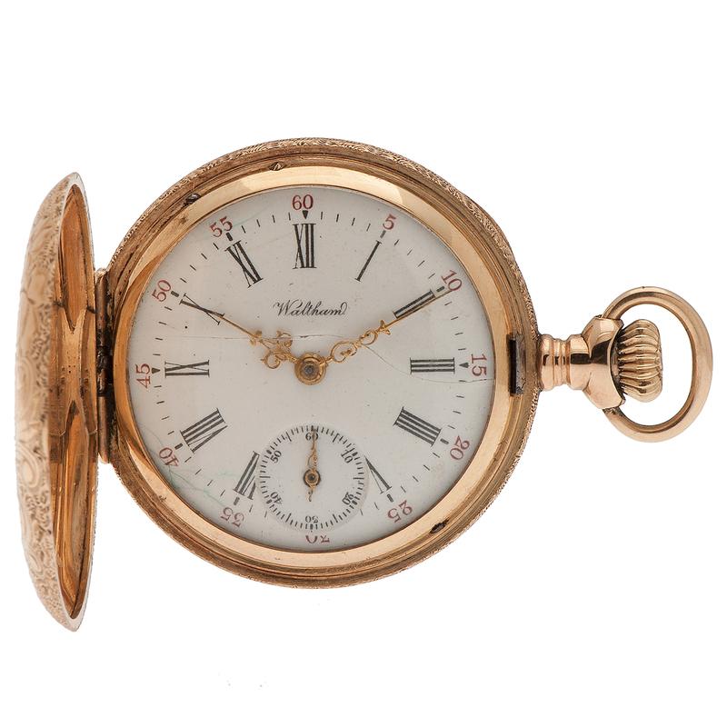 Waltham Hunting Case Pocket Watch in 14 Karat Yellow Gold