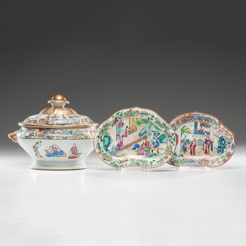 Famille Rose Tureen and Cake Plates