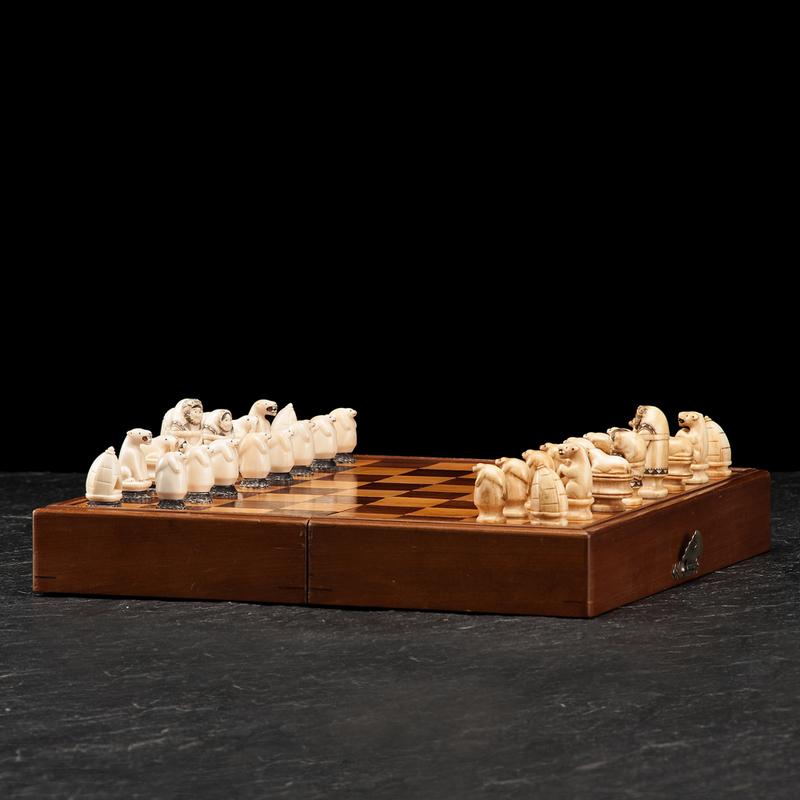Alaskan Eskimo Walrus Ivory Chess Set with Case