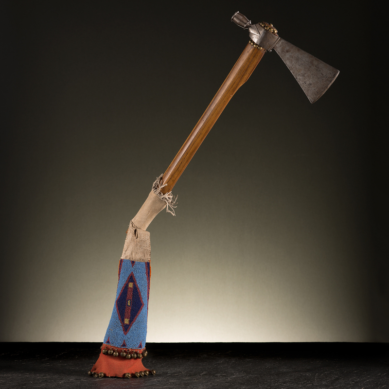 Western Plains Pipe Tomahawk With Crow Beaded Hide Drop