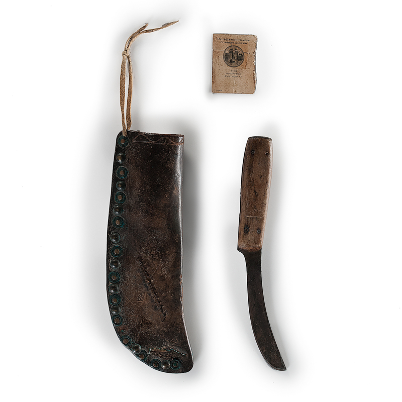Plains Tacked Leather Knife Sheath and Knife Attributed to Big Back, Cheyenne, From an Important Denver, Colorado Collector