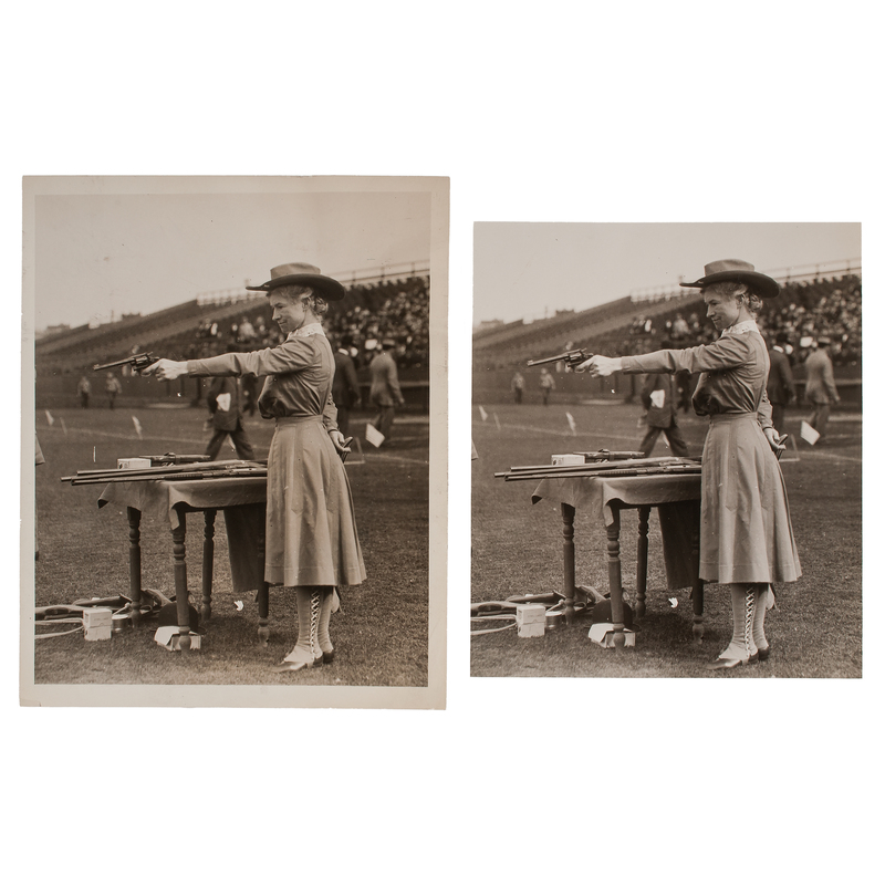 Annie Oakley Shooting Left Handed, Press Photographs