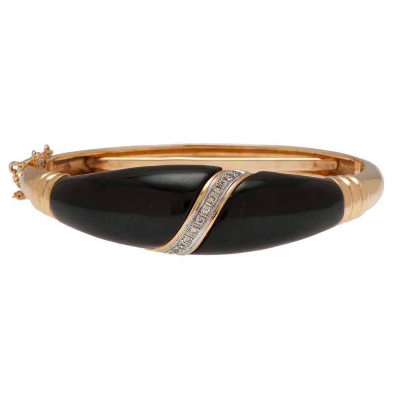 Bangle Bracelet in 14 Karat Yellow Gold with Diamonds and Onyx