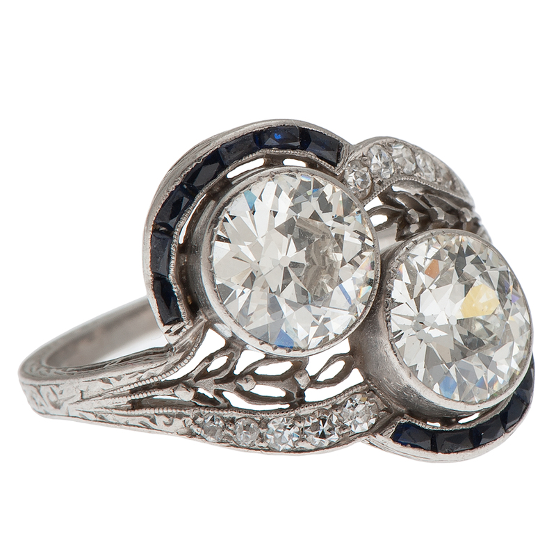 Two Diamond Ring in Platinum with Sapphires