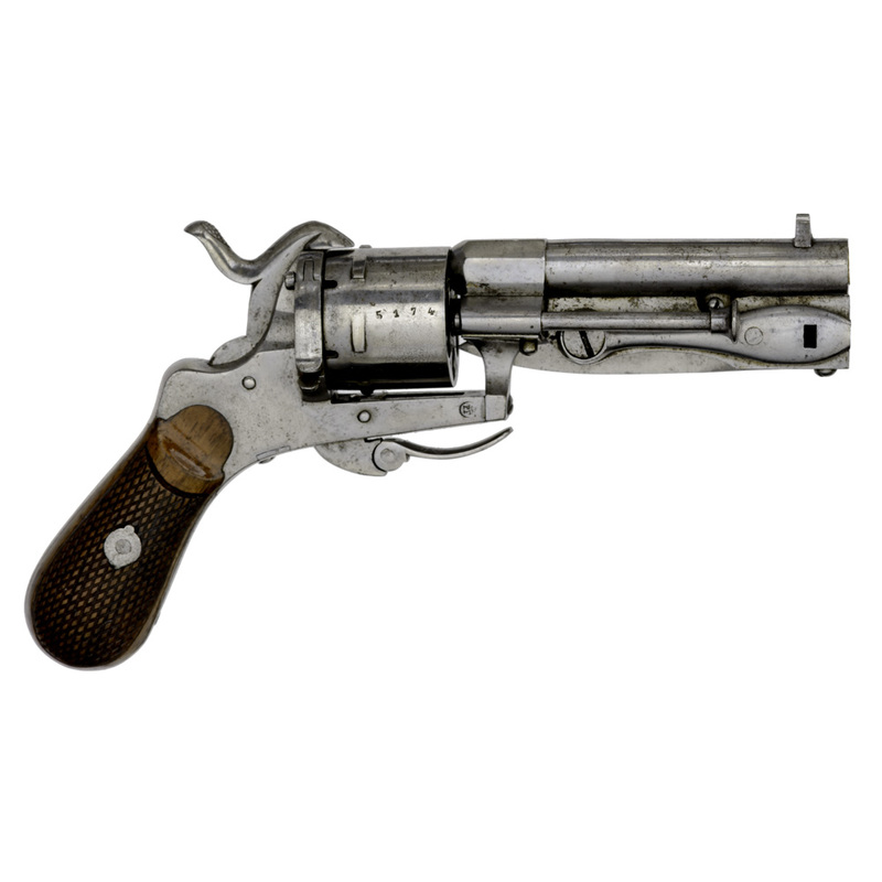 Belgian Pinfire Revolver With Folding Knife Blade