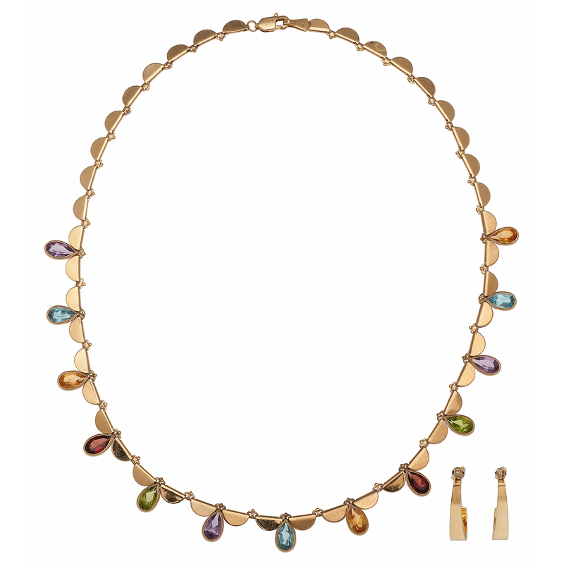 Multi Stone Necklace with Earrings and Jackets