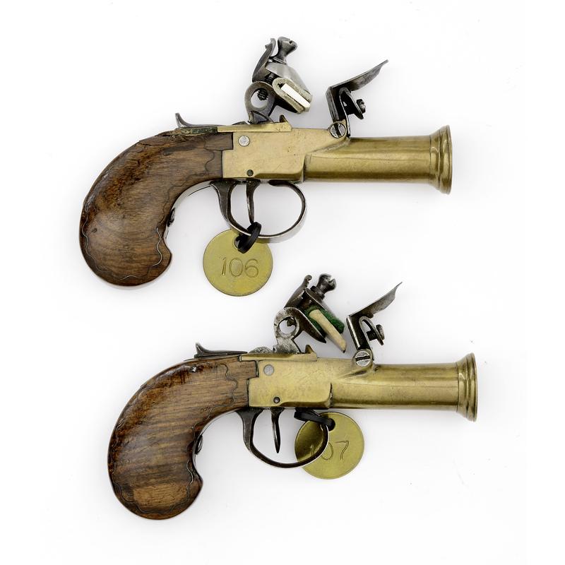 Pair Of Brass Small Frame Flintlock Blunderbuss Pistols
